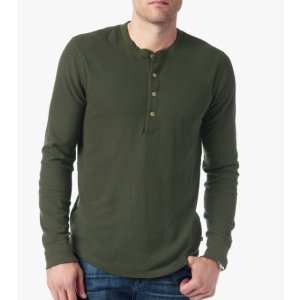 LONG SLEEVE THERMAL HENLEY IN OLIVE
