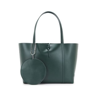 FOREST GREEN LEATHER TIE TOTE BAG W/ POUCH | KARA BAG