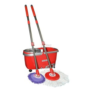 Panda Premium Effortless Turbo Spin Mop with Bucket Set (4 Mop Rods and 2 Extension Rods)