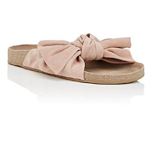 Ulla Johnson Bow-Detailed Suede Slide Sandals | Barneys New York