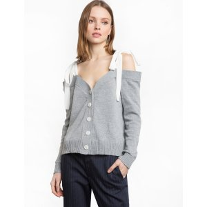 Grey Shoulder Tie Cardigan