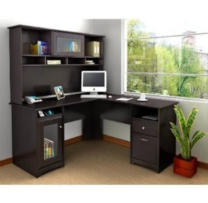 Lowest price and #1 Best seller! $263.00 Bush Furniture Cabot Collection L-Desk and Hutch