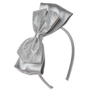 Girls Silver Glitter Bow Headband by Gymboree