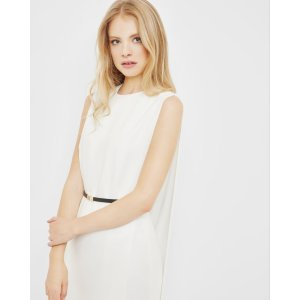 Pleated side wrap dress - Ivory | Dresses | Ted Baker