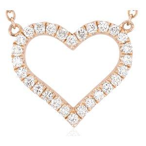 Diamond Heart Pendant in 14k Rose Gold (1/5 ct. tw.) | Blue Nile