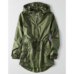 AEO Packable Rain Jacket , Olive