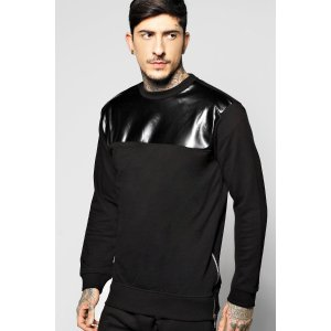 PU Panel Sweater With Side Zips