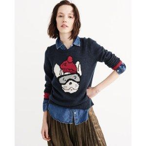 Womens Ski Dog Intarsia Sweater