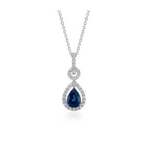 Floating Sapphire and Diamond Pear Pendant in 14k White Gold (8x6mm) | Blue Nile