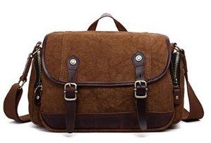 Plambag Canvas Leather Messenger Bag Retro Shoulder Crossbody Bag