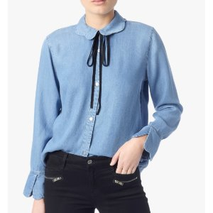 SCALLOPED DENIM SHIRT WITH BOW TIE BLUE HAVEN 衬衣
