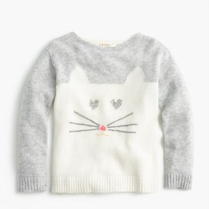 Girls' Kitty Sweater With Sequins : Girls' Sweaters   J.Crew