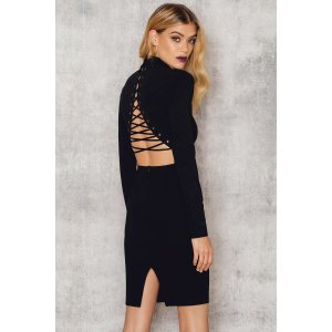 Back Lacing High Neck Dress - Buy online | NA-KD