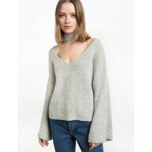 Grey Neck Choker Bell Sweater