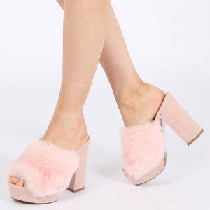 Abigail Faux Fur Platform Mules in Pink | Public Desire