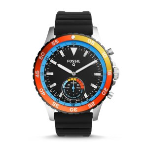 Q Crewmaster Hybrid Black Silicone Smartwatch - Fossil