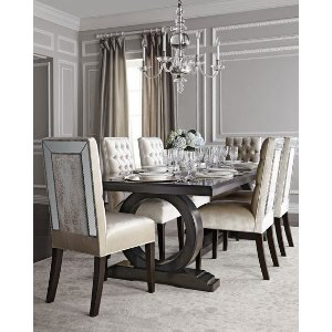Haute House Brittney Mirrored Dining Chair & Alden Trestle Dining Table