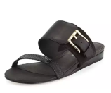 Donald J Pliner Bien Double-Strap Buckle Slide Sandal, Black