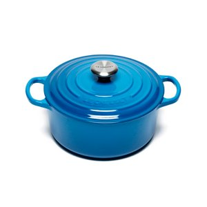 Le Creuset Signature Cast Iron Round Casserole Dish - 24cm - Marseille Blue Homeware | TheHut.com