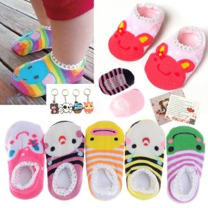 Fly-love 5 Pairs Cute Baby Toddler Stripes Anti Slip Skid Boat Socks