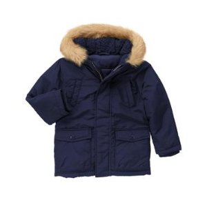 Toddler Boys Gym Navy Furry Hood Parka by Gymboree