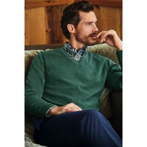 Men's Supima Cotton V-neck Sweater from Lands' End