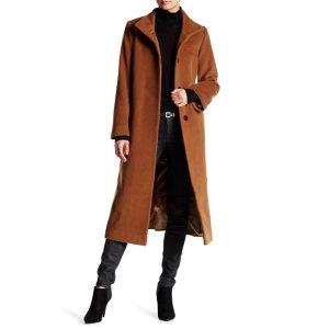 Fleurette Funnel Neck Wool Blend Coat