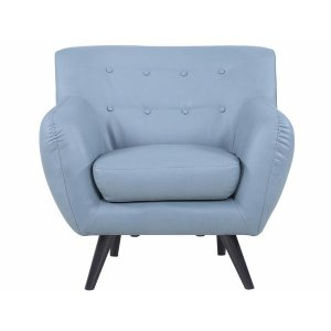 Modern Leather Grey Mid Century Chair - Sofamania