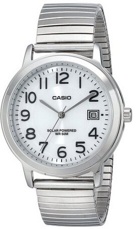Casio Men's MTP-S100E-7BVCF Easy-To-Read Solar Stainless Steel Watch