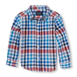 Boys Long Sleeve Checkered Button-Down Shirt | The Children's Place