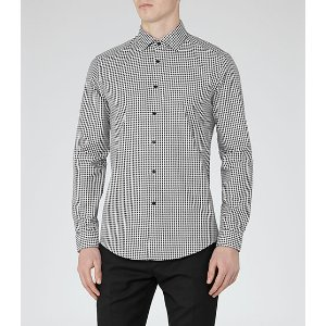 Onyx Black Houndstooth Check Shirt - REISS