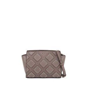 MICHAEL Michael Kors Selma Medium Diamond-Grommet Messenger Bag, Cinder