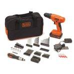 $59.99 BLACK+DECKER BDC120VA100 20-Volt MAX Lithium-Ion Drill Kit with 100 Accessories