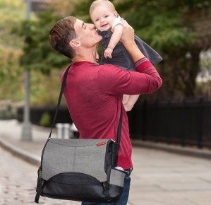 $39Skip Hop Baby All-in-One Swift Changing Station Messenger Diaper Bag, Heather Grey