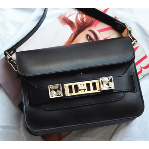 Proenza Schouler PS11 Mini Classic Black Linosa Leather Shoulder Bag at FORZIERI