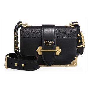 Prada Cahier Notebook Leather Shoulder Bag