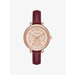 Kohen Rose Gold-Tone and Leather Watch - ROSE GOLD by Michael Kors