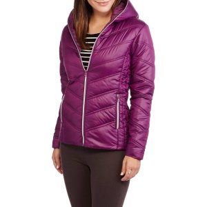 Climate Concepts Women's Hooded Chevron Quilted Jacket