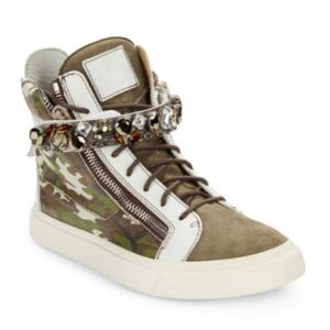 Giuseppe Zanotti - Crystal-Strap Camo-Print High-Top Sneakers - saksoff5th.com