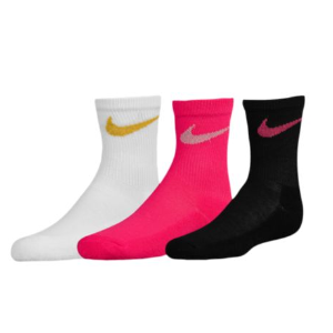 Nike 3 Pack Crew Socks - Girls' Preschool - Casual - Accessories - Pink Pow/White