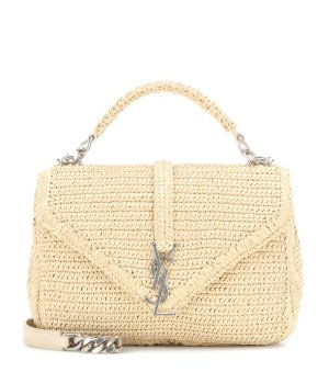 SAINT LAURENT Collège Small Raffia Shoulder Bag