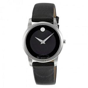 Movado Museum Black Dial Black Leather Strap Ladies Watch 0606503 - Museum - Movado - Watches - Jomashop