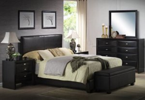 $189Ireland King Faux Leather Bed, Black