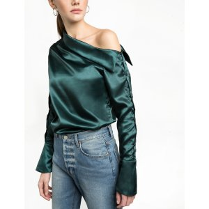 Green Satin Button One Shoulder Shirt