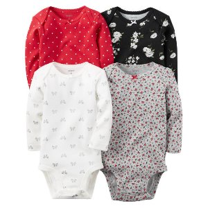 Baby Girl 4-Pack Long-Sleeve Bodysuits | Carters.com