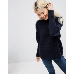 ASOS WHITE Open Shoulder Sweater