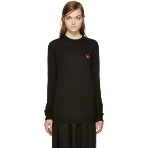 McQ Alexander Mcqueen: Black Embroidered Swallow Sweater