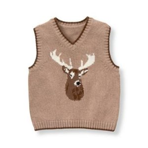 Baby Boy Light Chestnut Reindeer Sweater Vest at JanieandJack