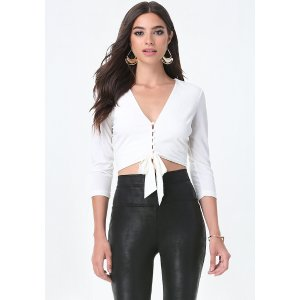 Front Tie V-Neck Crop Top - All New Arrivals | bebe