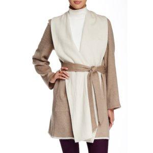 Sofia Cashmere Double-Face Fleece Reversible Wool Blend Coat